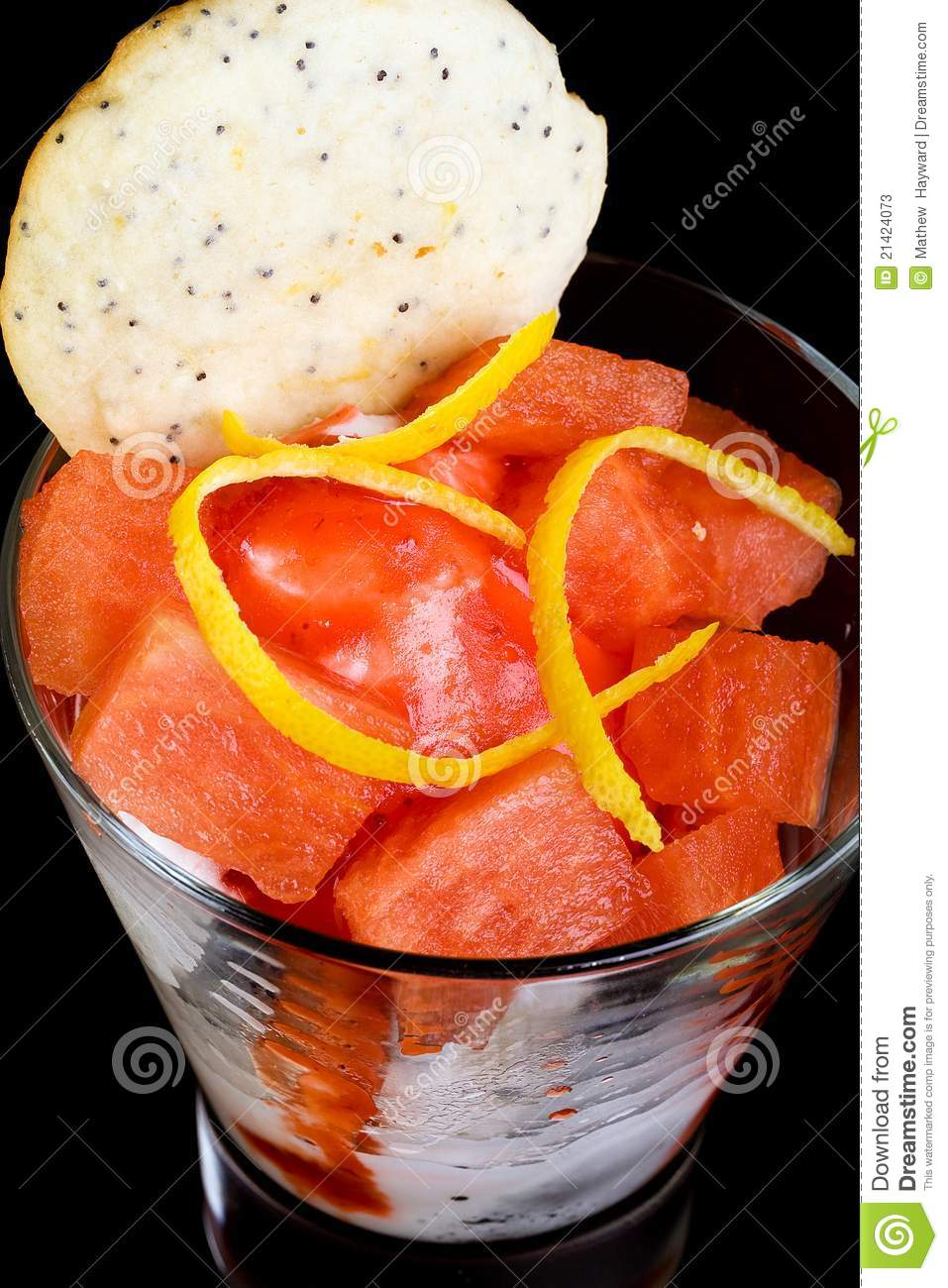 Fruit Cup With Fresh Watermelon Lemon Zest Ice Cream And A Cookie