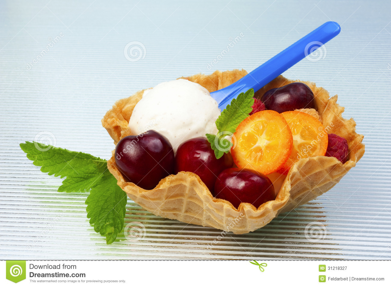 Fruits And Vanilla Ice Cream In Waffle Cup