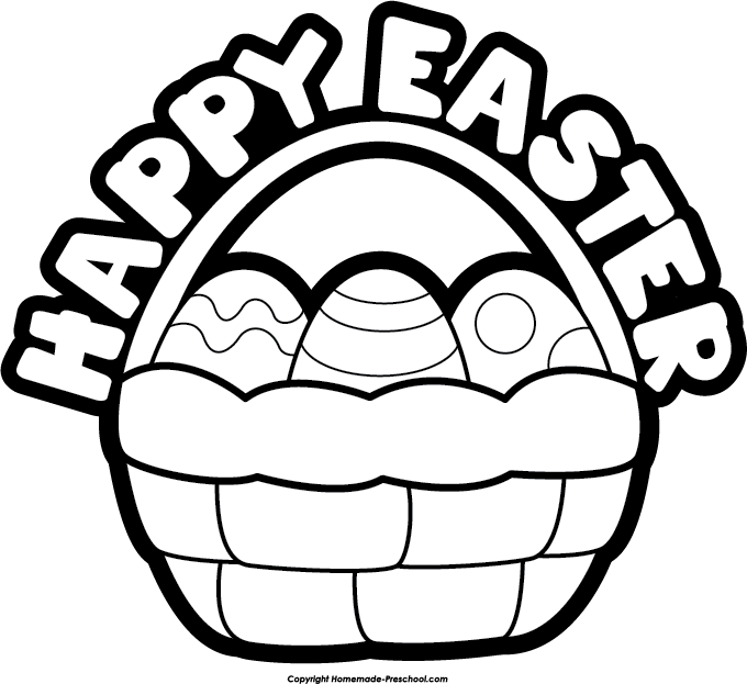 Happy Easter Clip Art Black And White Clipart  Happy Easter