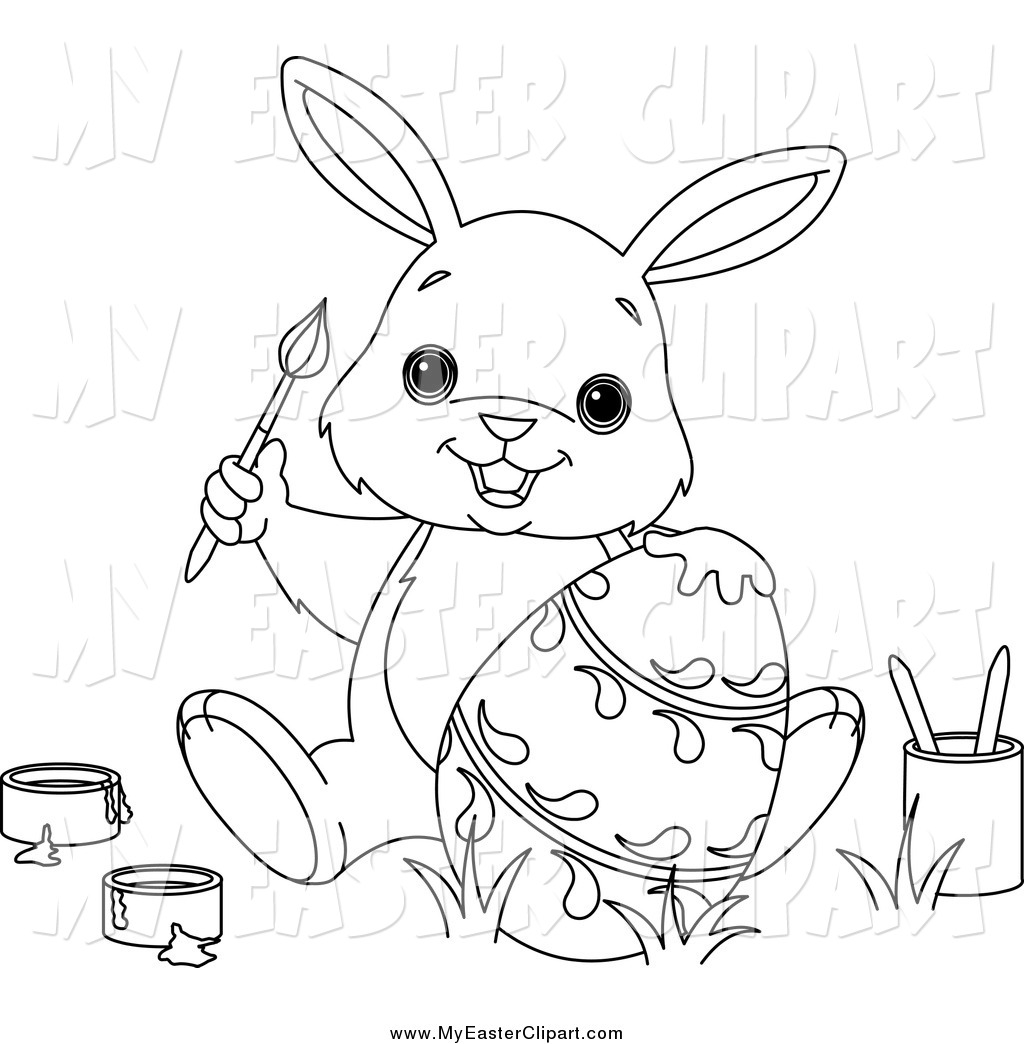 Easter Bunny With Eggs Clipart Black And White Black And White Easter...