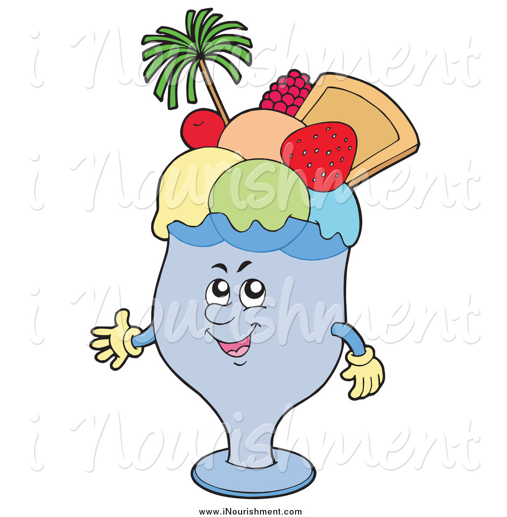 Larger Preview Clipart Of A Happy Ice Cream Cup Topped With Fruit By