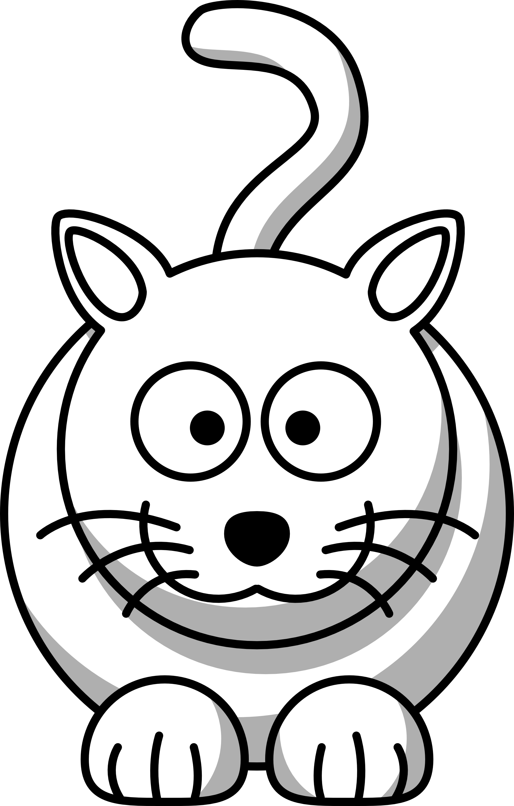 Lemmling Cartoon Cat Scalable Vector Graphics Svg Black White Line Art