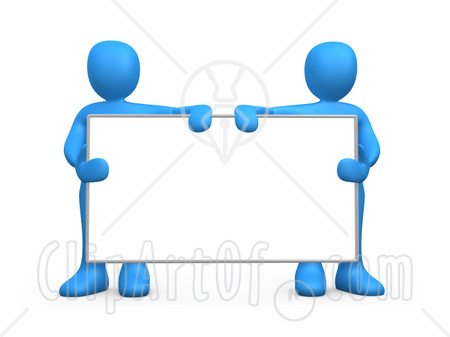 Advertising Clipart 15355 Two Blue Men Standing Behind And Holding Up