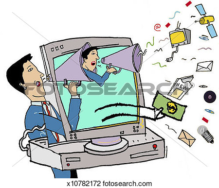 Clip Art   Man Advertising Via The Internet  Fotosearch   Search