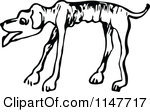 Clipart Of A Retro Vintage Black And White Emaciated Dog Royalty Free