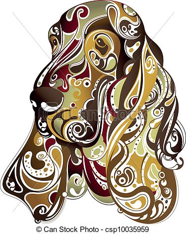 Clipart Vector Of Abstract Dog Head   Illustration Of Abstract Dog