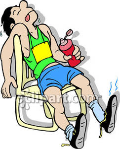 Exhausted Marathon Runner   Royalty Free Clipart Picture