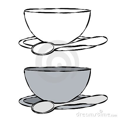 Simple Illustration Of A Bowl And Spoon In Black And White And Plain