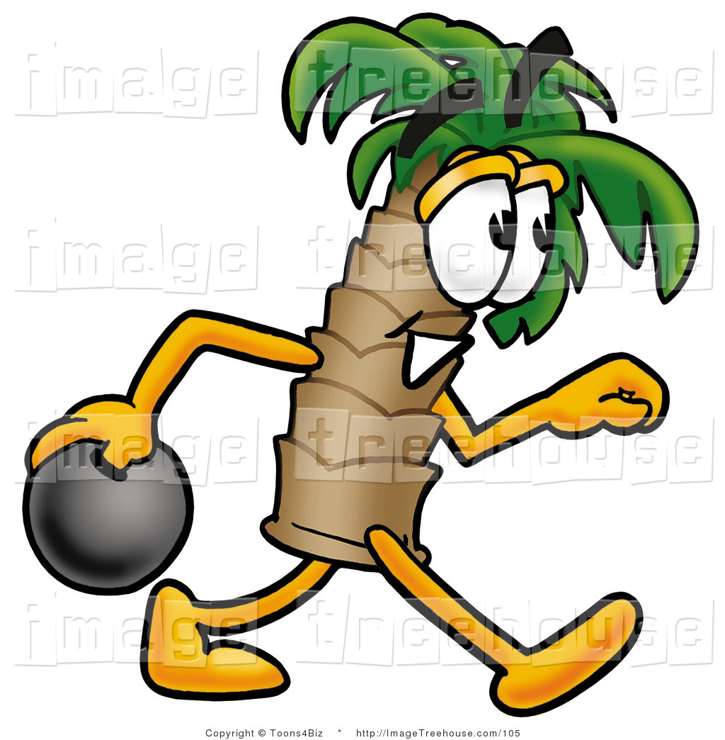 Tropical Palm Tree Mascot Cartoon Character Holding A Bowling Ball