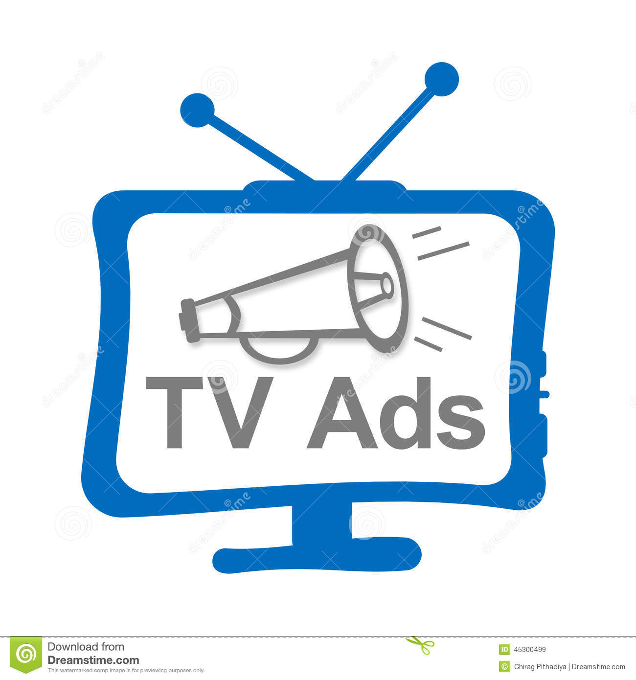 Tv Advertisement Concept Image With Tv Clip Art And Horn With Text