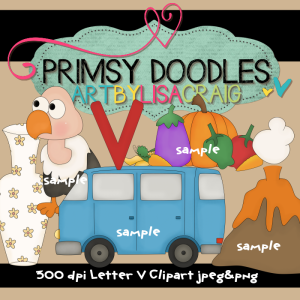 15 Letter V Clipart Collection   Primsy Doodle Designs
