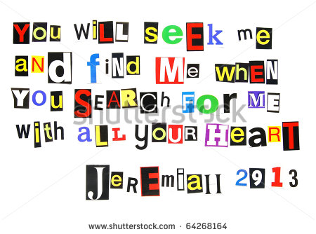 Bible Verse Jeremiah 29 13 Written In A Colorful Mix Of Cutout Ransom