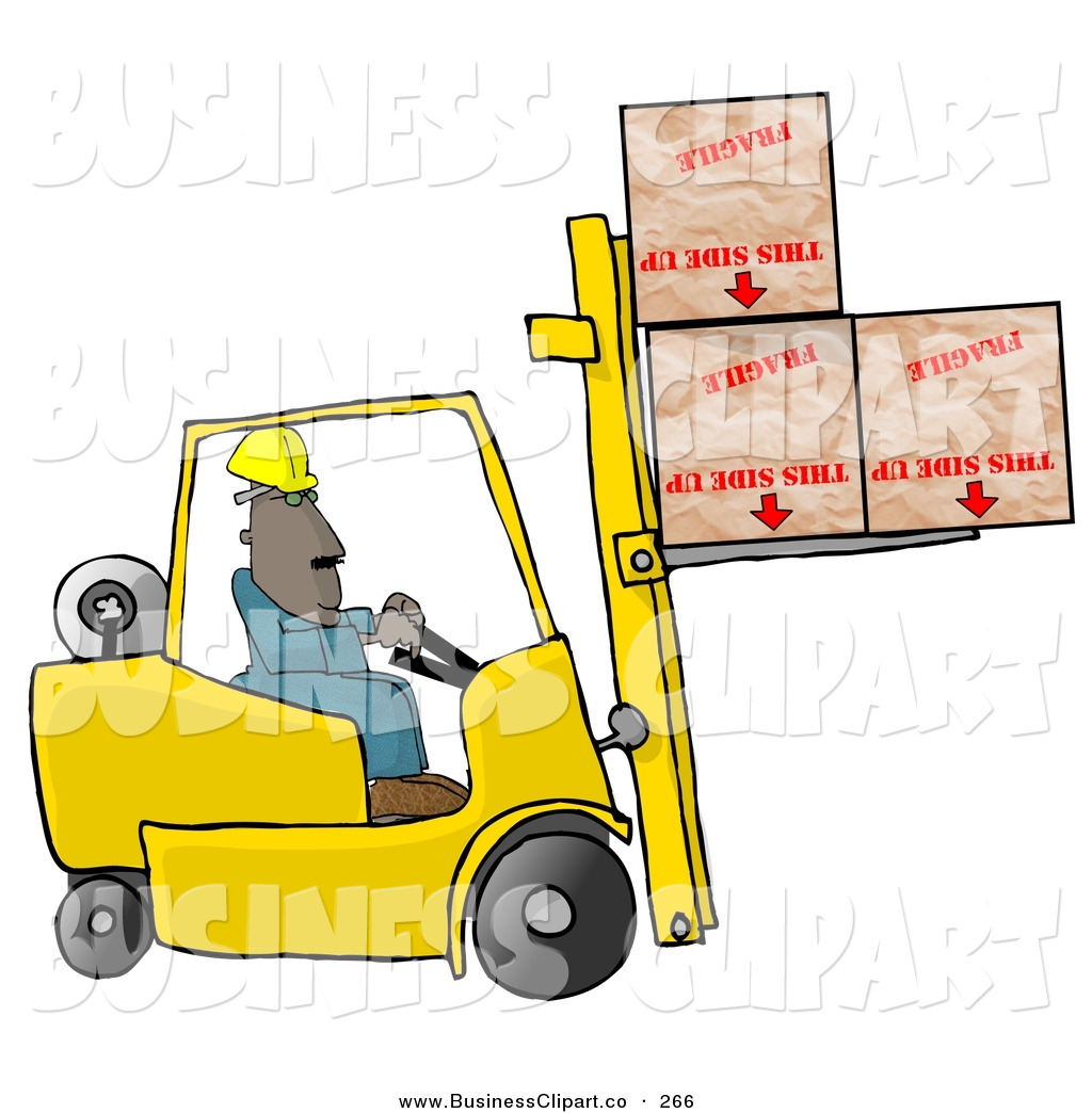 Clip Art Of A Bored Forklift Driver Delivering Fragile Boxes Upside