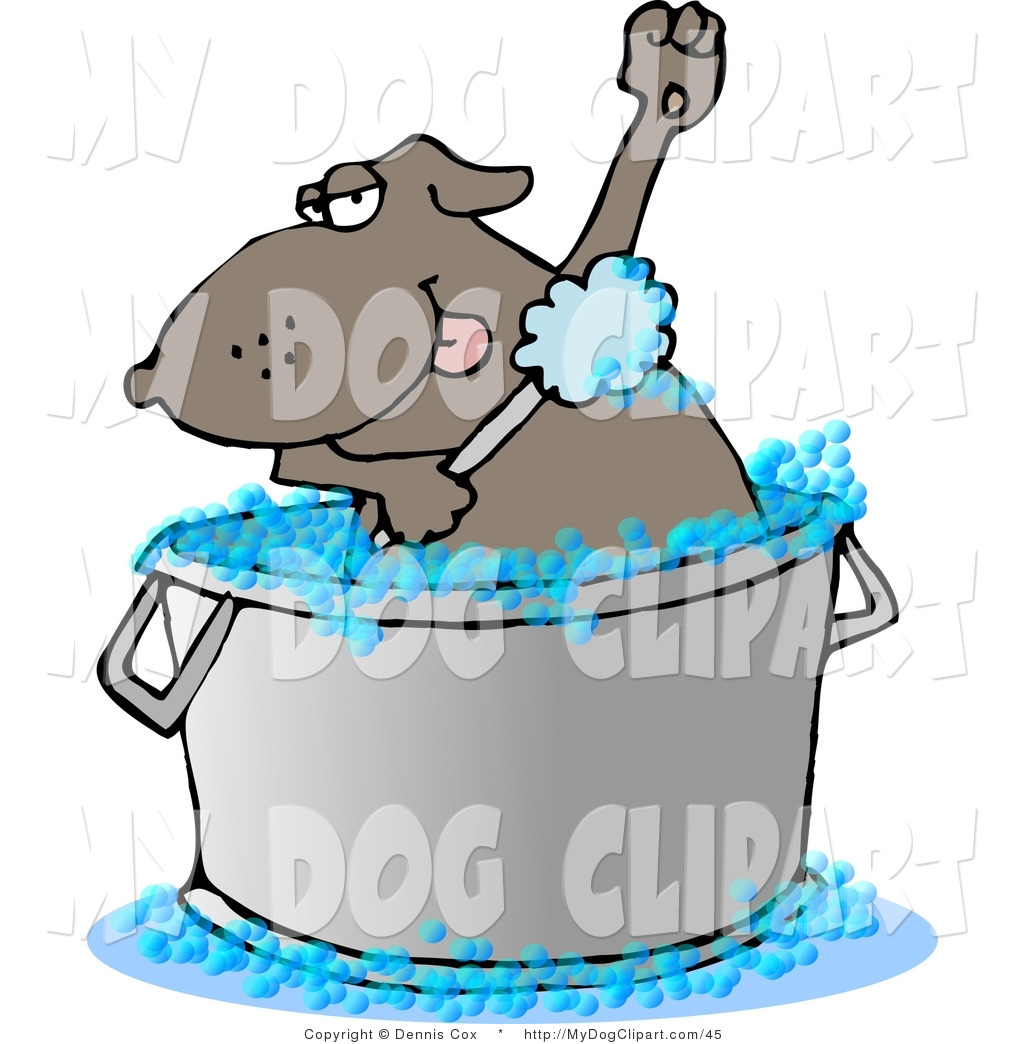 Clip Art Of A Brown Dog In A Wash Tub By Dennis Cox 45 Jpg