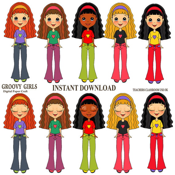 Clipart Groovy Girls  Instant Instant Download   Spend 20 Dollers Use