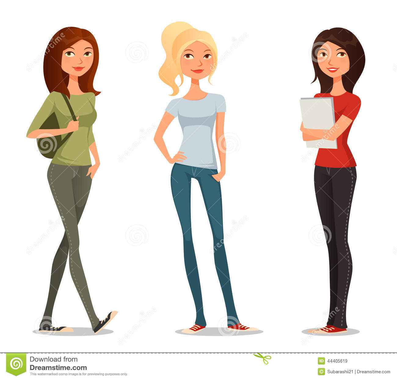 Cute Cartoon Illustration Of Teenage Girls Stock Vector   Image
