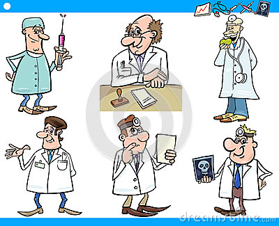 Doctor In Clinic Cartoon Illustration Royalty Free Stock Images