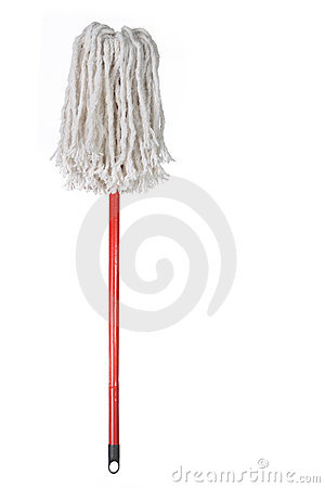 Large Mop Upside Down Isolated On White Stock Photos   Image  9222373