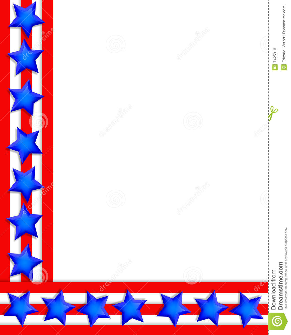 Of July Patriotic Background Border Or Corner Design With Copy Space