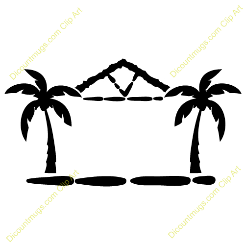 Trees And Hut Clip Art