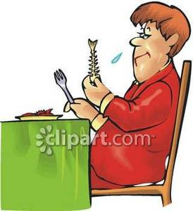Woman Eating Fish In A Restaurant   Royalty Free Clipart Picture