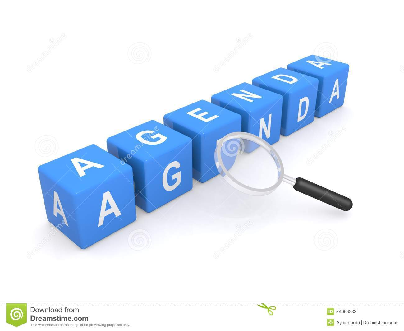 Blocks Spelling Word Agenda With Magnifying Glass White Background