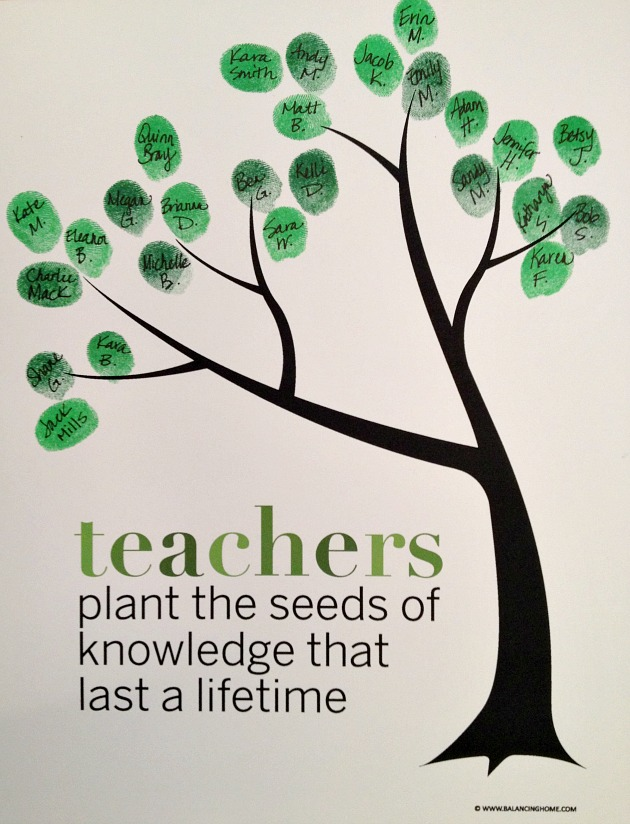 Classroom Fingerprint Tree  Perfect Gift For Teacher Appreciation Or