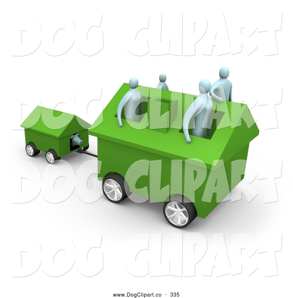 Clip Art Of A Family Of 4 Inside Their Green Home On Wheels Moving To