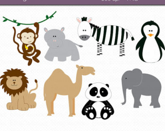 Clip Art Zoo Animal Clip Art zoo animals silhoettes clipart kid commercial use clip art instant download animal