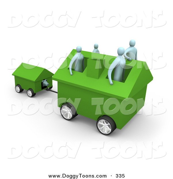 Clipart Of A Family Of Four Inside Their Green Home On Wheels Moving
