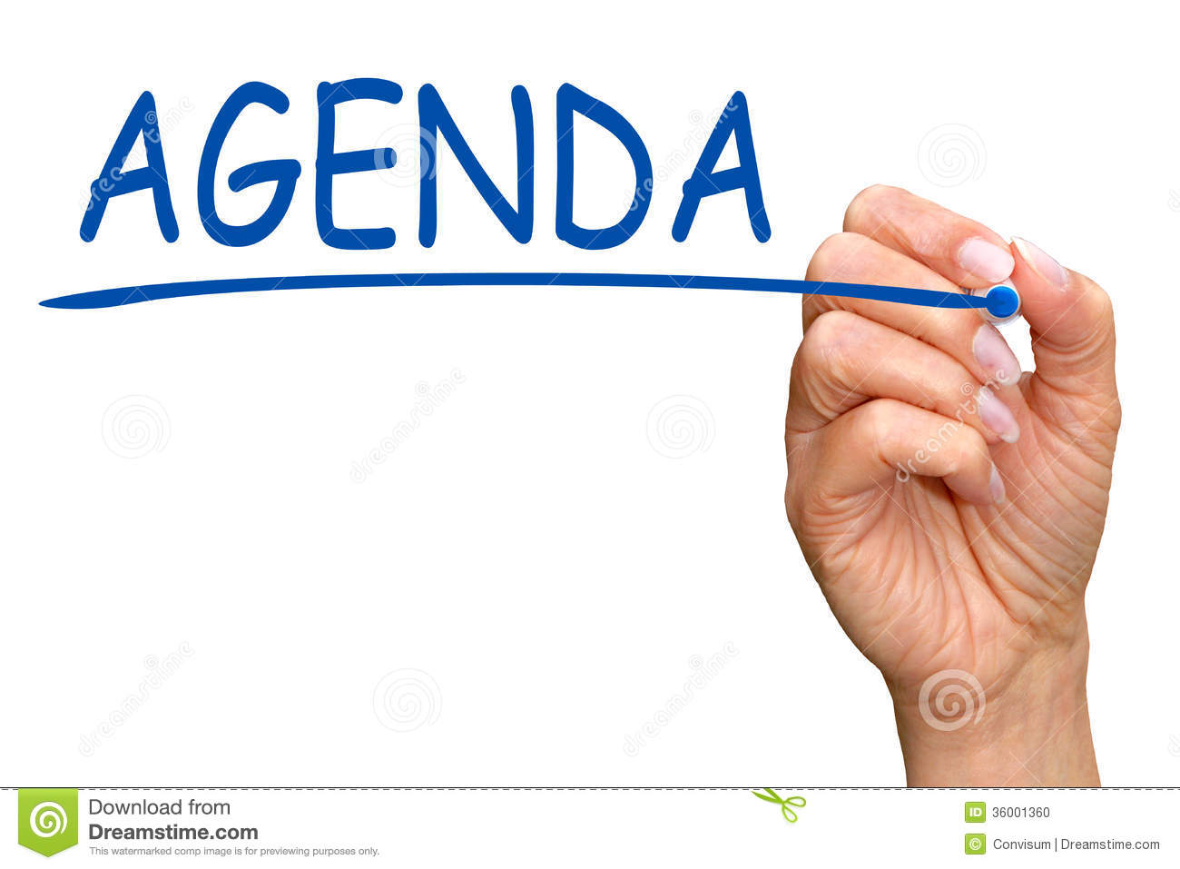 Hand of woman writing word agenda on white screen with copy space