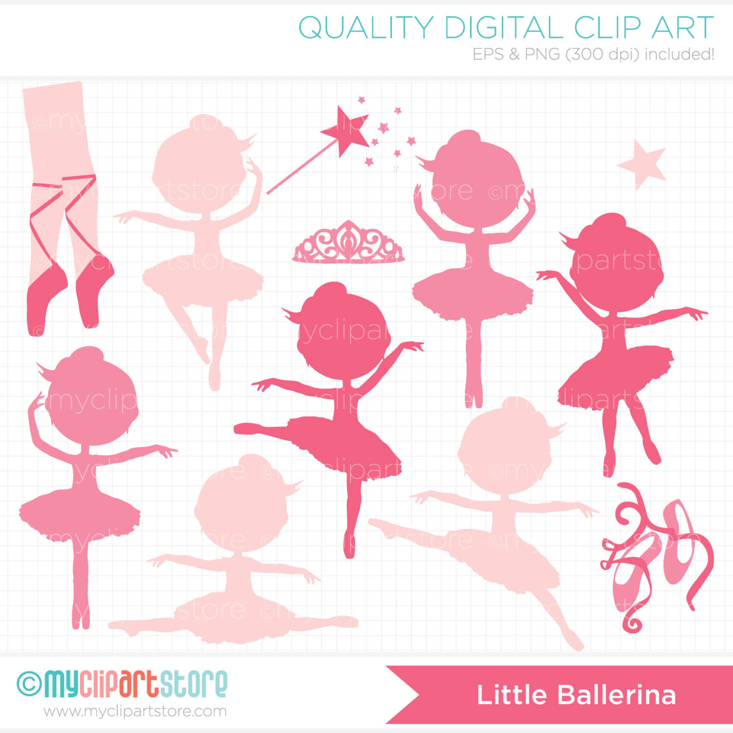 Little Ballerina Silhouette Clip Art   Digital By Myclipartstore