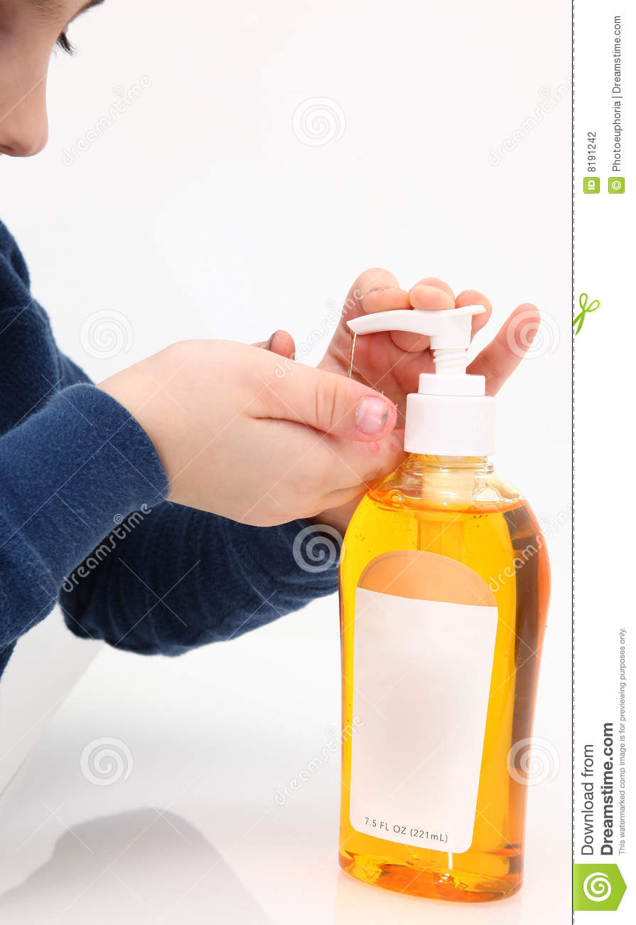 Little Boy With Dirty Hands Getting Handsoap From Liquid Pump  Blank