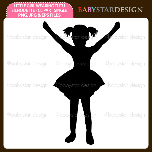 Tutu Silhouette Girl Wearing Tutu Skirt Silhouette Clipart  Little