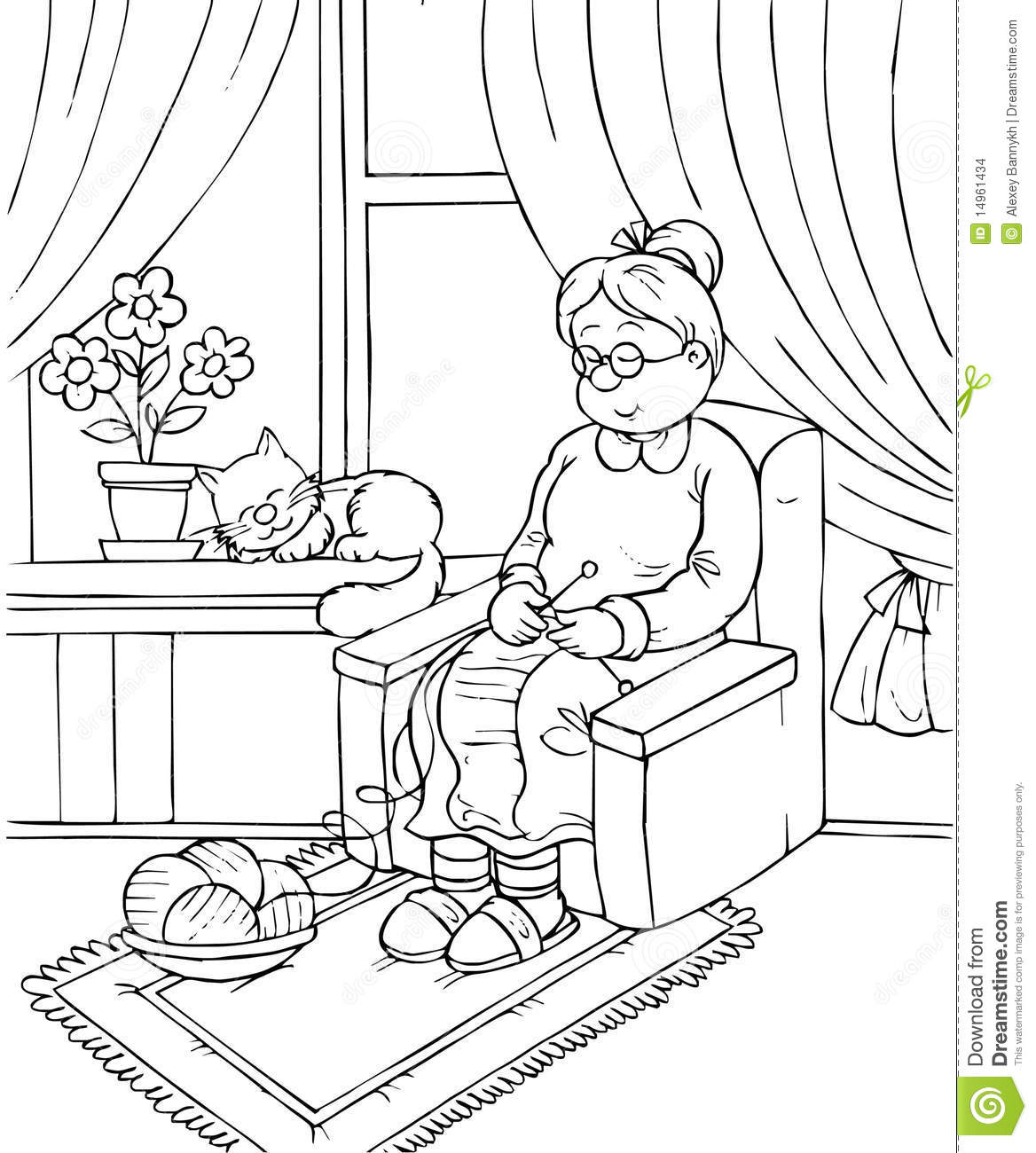 Grandma Black And White Clipart - Clipart Suggest