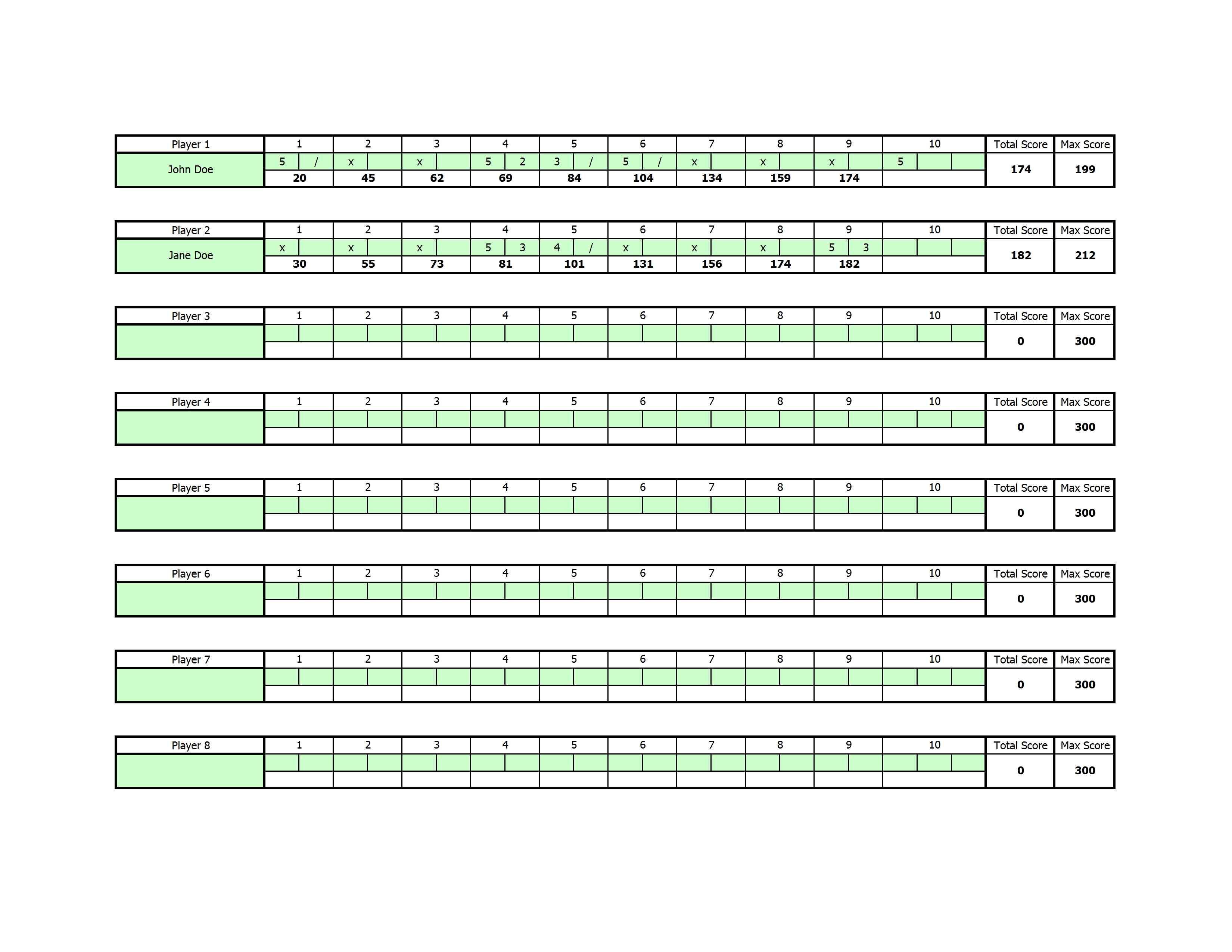 Bowling Score Sheet Clipart - Clipart Kid