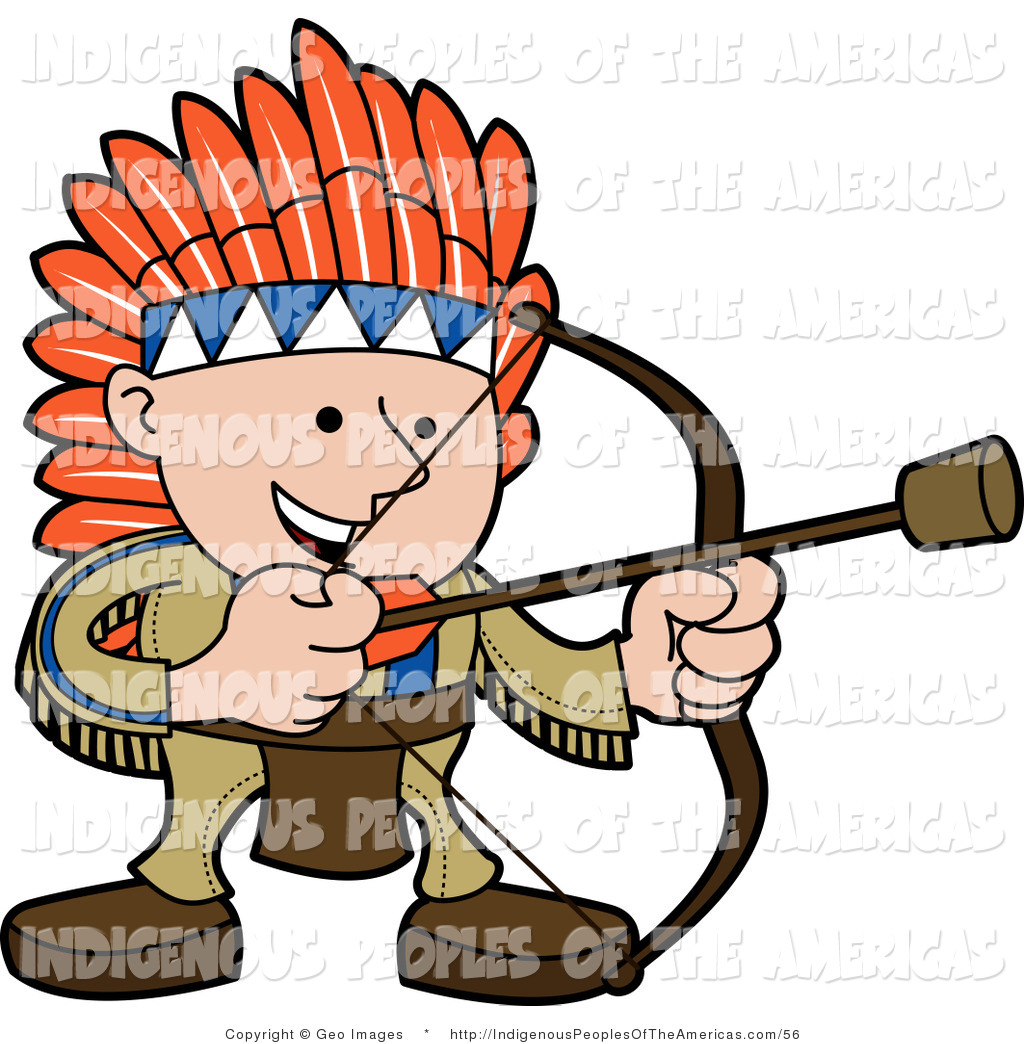 Clipart Of A Happy Native American Indian Man Shooting A Cork Arrow By