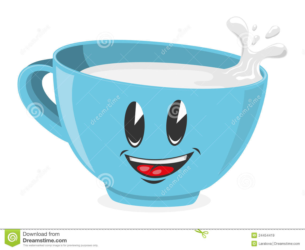 Cute Cup Of Milk Royalty Free Stock Images   Image  24454419