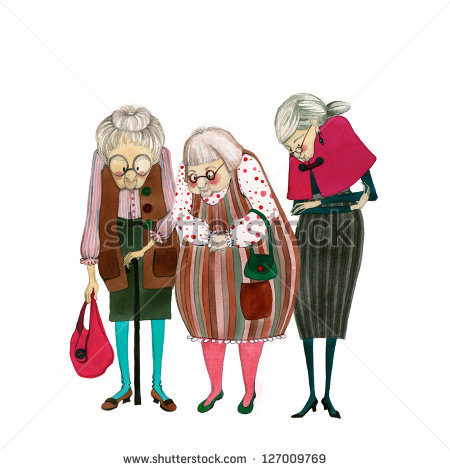 Funny Old Lady Clipart Illustrated Cute Old Ladies   Stock Photo