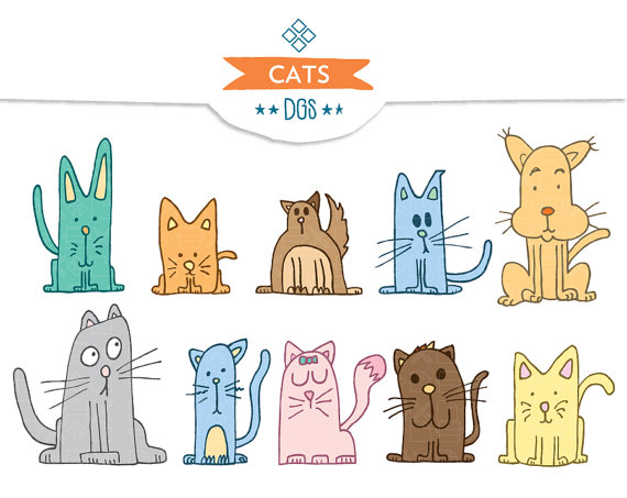 Items Similar To Cats    Instant Download   Cat Clipart Hand Drawn