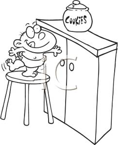 Reach Clipart A Mischievous Boy Standing On A Stool Trying To Reach