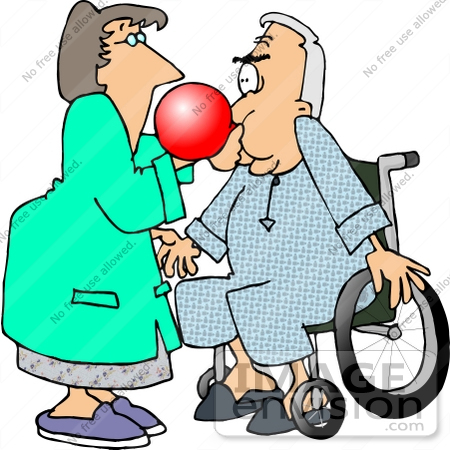 Respiratory Therapist Assiting A Senior Patient Man With A Balloon