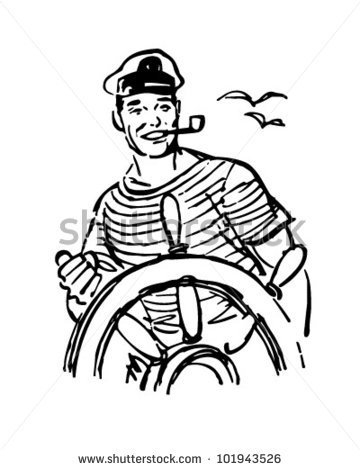 Sailor At The Helm   Retro Clipart Illustration   Stock Vector