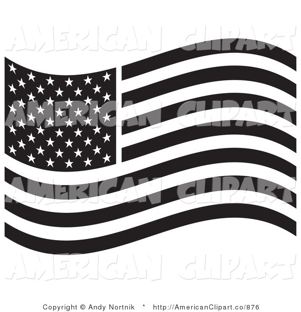 Vector Illustration Of A Black And White American Flag Waving In The