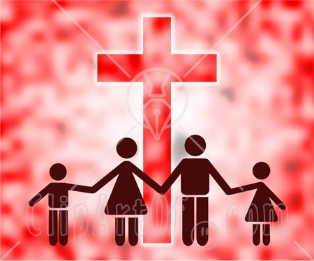 39599 Clipart Illustration Of A Family Of Four Holding Hands In Front