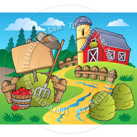 Cartoon Country Scene With Red Barn By Clairev   Toon Vectors Eps