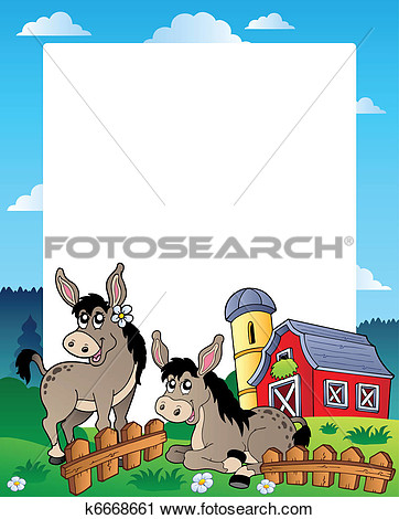 Clipart   Country Frame With Red Barn 5  Fotosearch   Search Clip Art