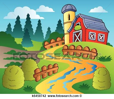 Clipart   Country Scene With Red Barn 4  Fotosearch   Search Clip Art