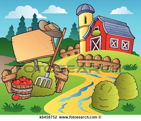 Clipart   Country Scene With Red Barn 5  Fotosearch   Search Clip Art