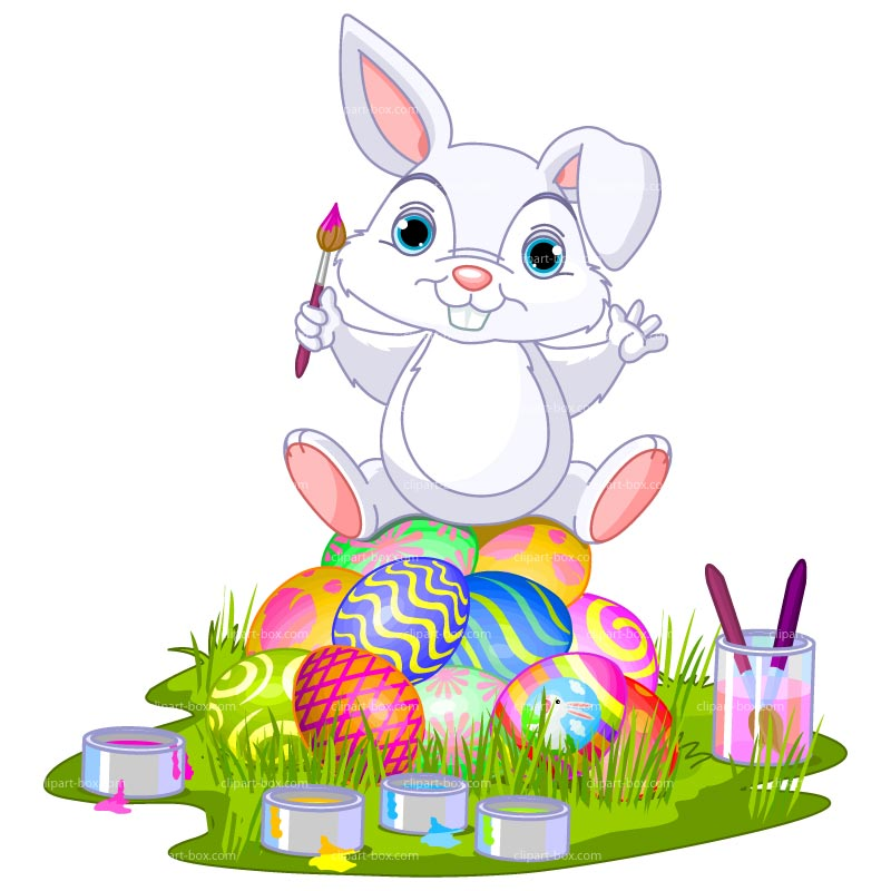 Clipart Easter Bunny Painting   Royalty Free Vector Design